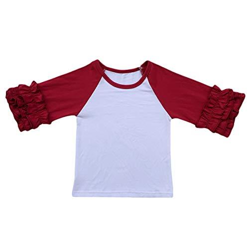 Little Big Girl Icing Ruffle Tops Raglan T-Shirt Boutique 3/4 Sleeve Tee Shirt Halloween Costume Birthday Christmas -