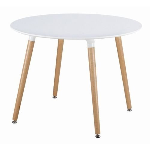 White Retro Round Cafe Home Kitchen Dining 80cm Scandinavian Table Wooden Leg Niches