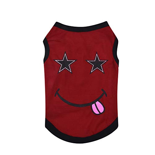 Smdoxi pet Summer Text Fashion Smiley Pattern Printing Letters Simple Cute cat Dog Breathable Comfortable Vest Clothes -