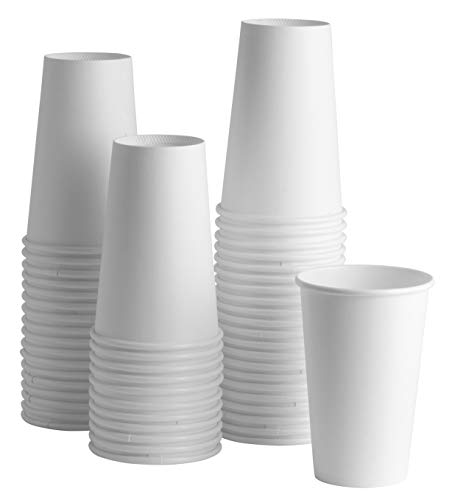 [100 Pack] White Paper Hot Cups (16 oz.) by Comfy Package