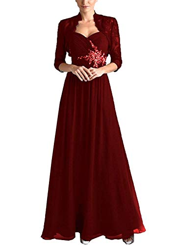 FJMM Chiffon 2 Pieces Mother of The Bride Dress with Lace Jacket Beaded Pleated Evening Gown