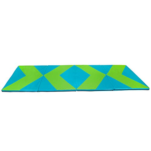 Polar Aurora 4'x10'x2 Thick Folding Gymnastics Exercise Mat Aerobics Stretching Yoga Mats (Green-Blue)