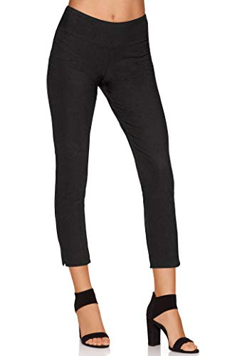 Boston Proper Women's Wrinkle-Resistant Solid Color Knit Crop Pant Jet Black - Knit Cropped Travel Pants