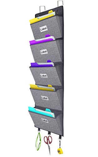 Over The Door Hanging File Organizer Wall Mounted, Office Supplies Storage Holder Pocket Chart for Magazine,Notebooks,Planners,File Folders,5 Large Pockets ()