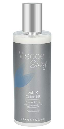 Visage Envy Milk Face Cleanser - Soothing Cleansing Milk Enriched with Red Algae, Aloe, Jojoba Oil, and Dead Sea Minerals - Paraben-Free Face Wash Gently Removes Makeup, Dirt, and Toxins - 8.79 Ounce