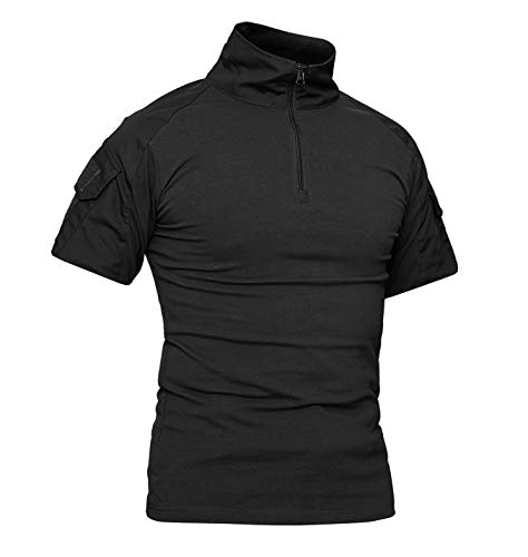 KEFITEVD Mens Military Short Sleeve Shirts Summer Combat Polo Shirts Outdoor Army T Shirts