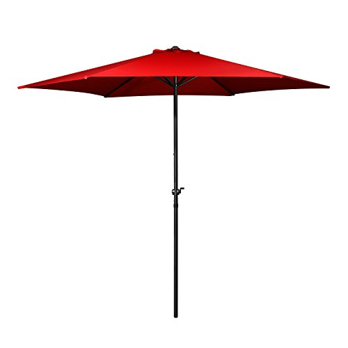 Flexzion Patio Aluminum Umbrella 9 ft (Red) Hexagon Shape Polyeaster Cover for Outdoor Market Yard Beach Pool Garden Shade Portable with 6 Steel Ribs Wind Vent Review