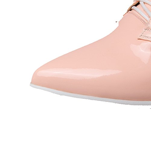AmoonyFashion Womens Patent Leather Low Heels Pointed Closed Toe Solid Lace Up Pumps-Shoes Pink uePkLBP1mD