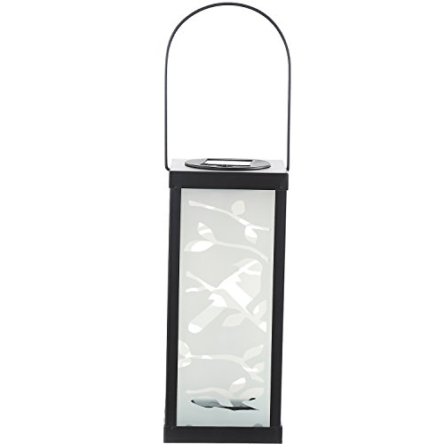 CEDAR HOME Solar Lantern Outdoor LED Light Portable Waterproof Frosted Metal Glass Hanging Lamp with Hanger, 4.5''W x 4.5''D x 11''H, Bird by CEDAR HOME