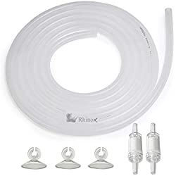 Rhinox Airline Tubing, 72-inches, Flexible for All Aquariums, for Creating The Bubble Effect, 2 Check Valves to Prevent Backflow, 3 Suction Cups Included for Easy Installation
