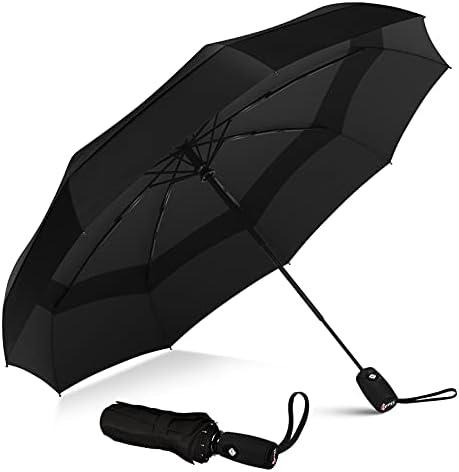 Windproof Folding Umbrella Travel Umbrella Auto Open Close and Ergonomic Handle Fly Grass Leaves Plant
