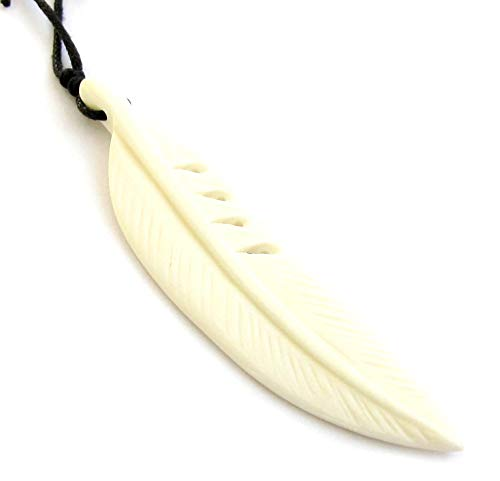 - Ox Bone Carved Feather Pendant Necklace