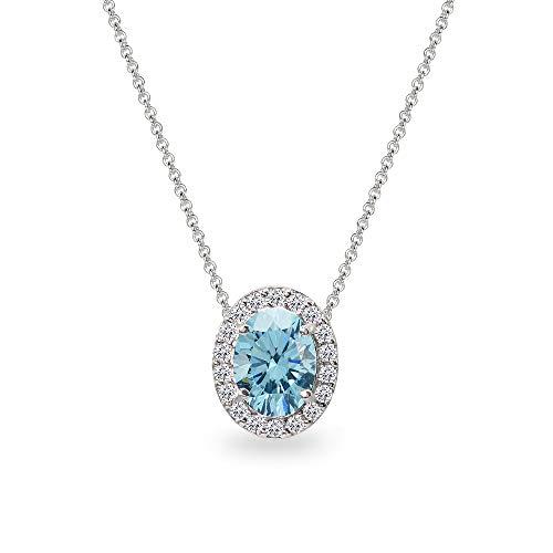 (Sterling Silver Light Blue 8x6mm Oval Halo Slide Pendant Necklace Made with Swarovski)
