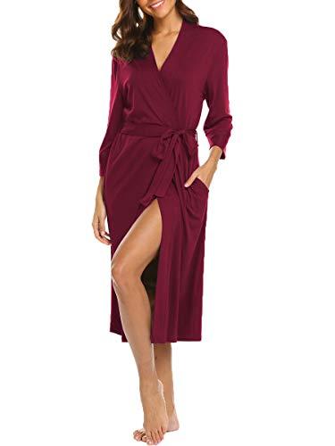 BLUETIME Womens Robe Knit Bathrobe Sleepwear Loungewear Lightweight Kimono Robes Long (L,...