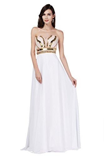 TOSKANA BRAUT, hermoso vestido de gasa con escote corazón para damas de honor, vestido de noche largo de fiesta Weiß