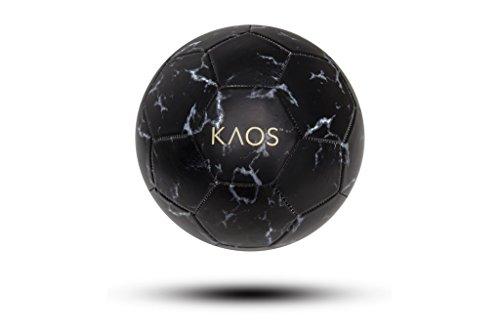 Black Soccer Ball (KAOS Gotham Black Marble, Training and Recreation Soccer Ball, Black w White, Size 5)