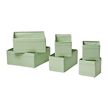 Ikea Skubb Storage Box Set Of 6, Drawer Organizers, Light Green, Multi