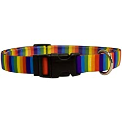 Yellow Dog Design Rainbow Stripes Dog Collar - Size Small - 3/4 Inch Wide