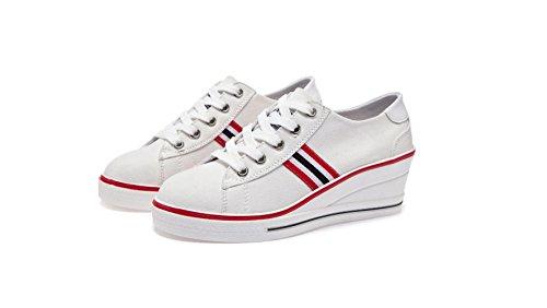 Zapatos de Plataforma de Mujer Gruesa Inferior Zapatos de Lona de Tacón bajo Cuña Zapatillas de Deporte Ocasionales con Cordones Zapatos White