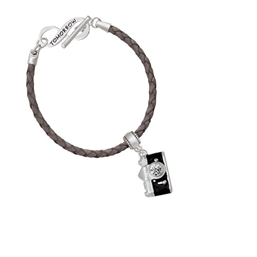 Black Camera Today Tomorrow Infinity Shimmer Grey Leather Bracelet