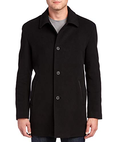 - Cole Haan Men's Wool Cashmere Button Front Topper, Black, XX-Large