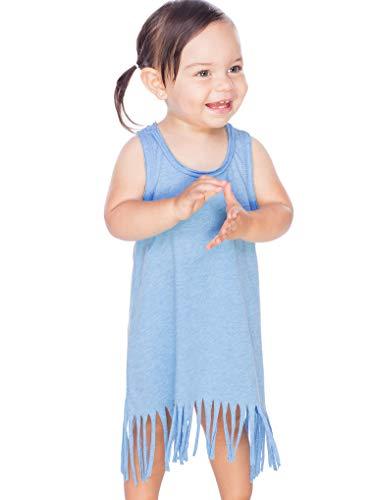 Kavio! Infants Sheer Jersey Raw Edge Fringe Asymmetrical Tank Dress