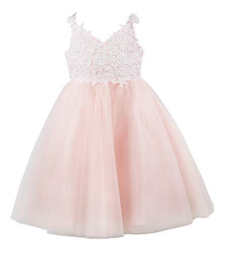 Miama Ivory Lace Tulle Backless Wedding Flower Girl Dress Junior Bridesmaid Dress ()