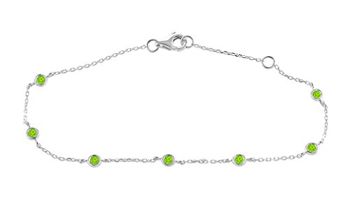 0.15 Ct. 925 Sterling Silver Natural Real Round Cut Bezel Set Green Peridot Chain Bracelet For Women by Rare Earth Diamond Jewellery