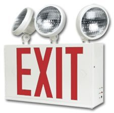 NYC Approved LED Exit Sign Combo with Emergency Lighting and Battery Backup