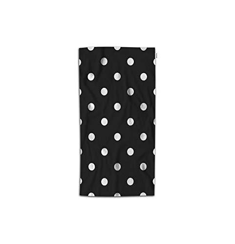 (Moslion Polka Dot Hand Towel Vintage Black White Spot Doodle Polka Dot Towel Soft Microfiber Face Hand Towel Kitchen Bathroom for Kids Baby Men 15x30 Inch)