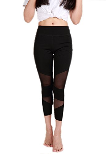 (CFR Sexy Mesh Yoga Pants Women's Fitness Capri Sport Leggings Tights For Workout Activities (Small, Black - Style)