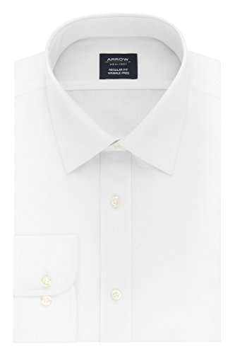 Arrow Men's Dress Shirt Poplin Regular Fit Spread Collar, White, 15-15.5