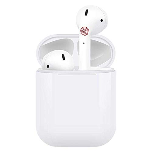 Earphones Wireless Bluetooth Long Battery Life Sport Durable Compatible w All Smartphones Android & iOS (Very White) (FYRE RED)