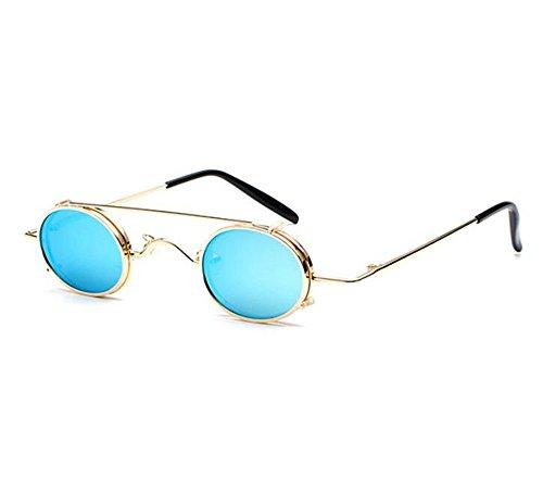 UV400 gafas ovales de Retro vintage Azul polarizado sol Dorado no mujeres hippie y estilo hombres punky extraíbles z6Hz7Tfw