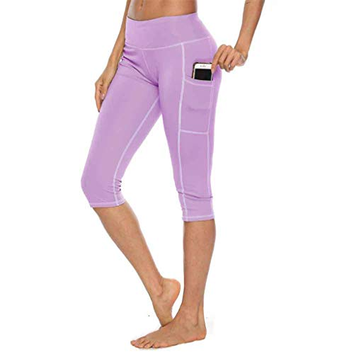 hositor Yoga Pants for Women, Ladies Tights Yoga Shorts Workout Pants Running Leggings with Pocket Purple -