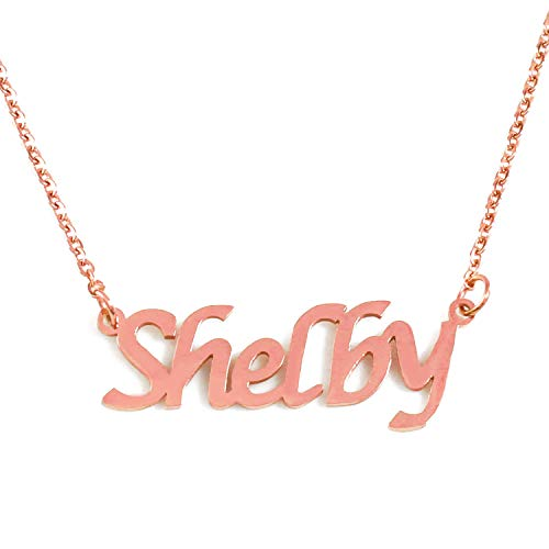Zacria Shelby Name Necklace - 18ct Rose Gold Plated ()