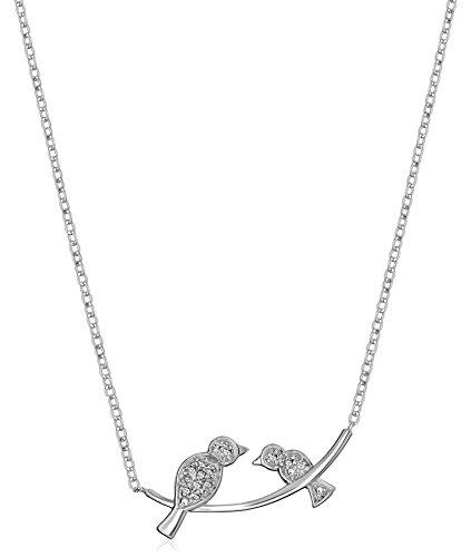 Sterling Silver Diamond Accent Birds on Branch Pendant Necklace, (Diamond Bird)