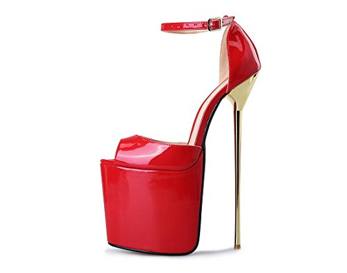 Alto 42 8 In Nuovo Prom Coda Donne Sandalo Eur Tacco uk Impermeabile Bocca Con Sexy Cinturino Primavera Pu Pesce Da Red Nightclub Nvxie Rosso Nero Stiletto Shallow eur45uk105 5 Scarpe Dressy Artificiale wxPzz