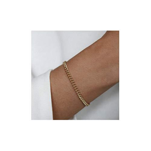 14k Gold Link Bracelet - Mevecco Gold Link Chain Bracelet,14K Gold Plated Cute Dainty Boho Curb Stacking Link Chain Minimalist Simple Fashion Bracelet for Women