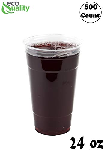 Clear Plastic Disposable Pet Cups | 24 oz Cups, 500 Pack | Crystal Clear PET Cup | Cold Smoothie | Iced Coffee Go Cups | Ideal for Coffee, Parfait, Juice, Soda, Cocktail, Party Cups (24oz, 500 count)