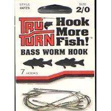 Tru Hook Turn Worm Bass - Bass Worm Hook 2/0 Bronze by Tru Turn