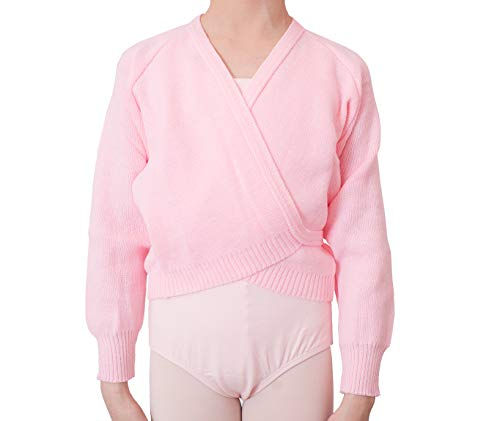 - DANCEYOU Girl's Basic Warm Up Sweater for Ballet, Long Sleeve Knit Tie Wrap Top Dance Gymnastics Cardigan, Pink, Size SC