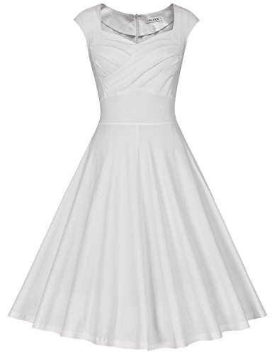 MUXXN Women's 1950s Retro Vintage Cap Sleeve Party Swing Dress(L,White)