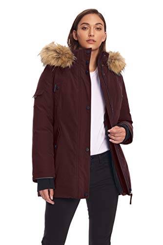 Alpine North Womens Vegan Down Parka Winter Jacket, Grape, S