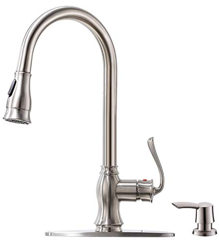 Pull Down Kitchen Faucet with Sprayer and Soap Dispenser – Brushed Nickel Stainless Steel Commercial Single Handle Pull Out Kitchen Sink Faucets with Deck Plate