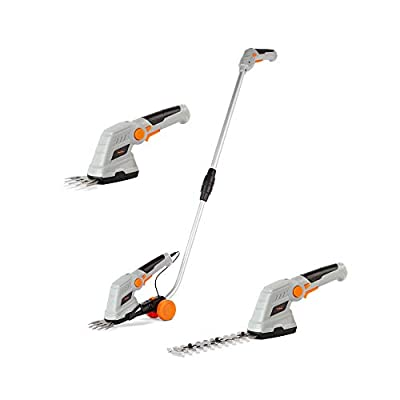 VonHaus 7.2V 2 in 1 Grass and Hedge Trimmer - Battery Powered Cordless, Interchangeable Blades, Easy Tool Blade Change, Telescopic Handle & Trolley Wheel Attachments