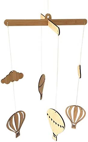 Etase Wooden Hot Air Balloon Wind Chime Hanging Wall Ornaments Baby Bed Bell INS Style Kids Room Decoration Nursery Photo Props