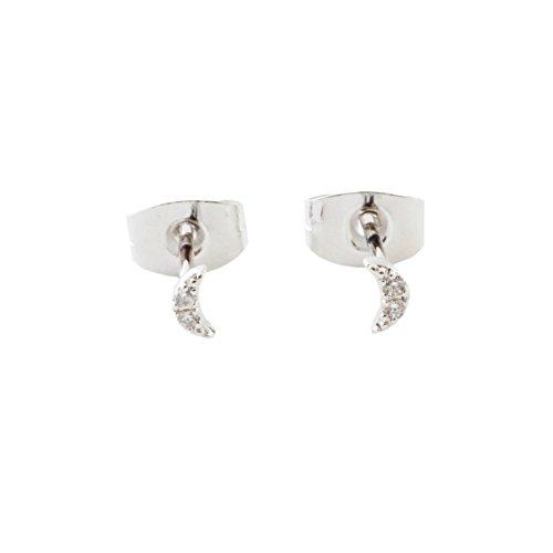 (HONEYCAT Tiny Crystal Moon Stud Earrings in Silver | Minimalist, Delicate Jewelry (Silver))