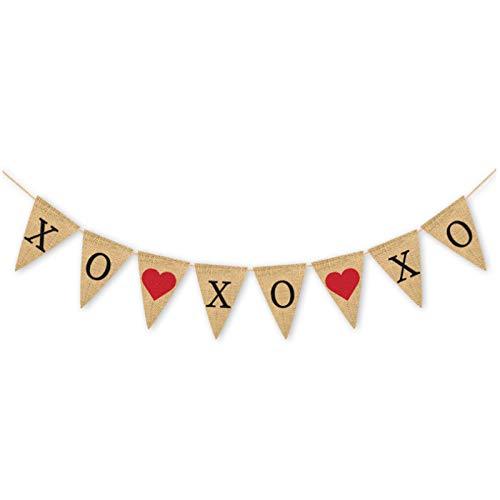 Konsait XOXOXO Burlap Banner | Valentine's Day Banner | XOXOXO Bunting Garland for Valentine's Day Decorations Wedding Anniversary Engagement Bridal Shower Party Decor Backdrop Supplies