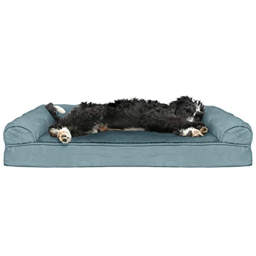 FurHaven Pet Dog Bed   Cooling Gel Memory Foam Orthopedic Plush & Suede Sofa-Style Couch Pet Bed for Dogs & Cats, Deep Pool, Large